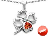 Celtic Love By Kelly™ Large 7mm Heart Shape Simulated Orange Mexican Fire Opal Lucky Clover Heart Pendant style: 308905