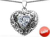 Original Star K™ Bali Style Puffed Heart Hand Finished Heart Shape 7mm Genuine White Topaz Pendant style: 308906