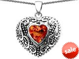 Original Star K™ Bali Style Puffed Heart Hand Finished Heart Shape Simulated Orange Mexican Fire Opal Pendant style: 308908