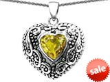 Original Star K™ Bali Style Puffed Heart Hand Finished Heart Shape Simulated Citrine Pendant style: 308909
