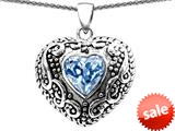 Original Star K™ Bali Style Puffed Heart Hand Finished Heart Shape Simulated Aquamarine Pendant style: 308911