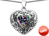 Original Star K™ Bali Style Puffed Heart Hand Finished Heart Shape Rainbow Mystic Topaz Pendant style: 308912
