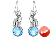 Original Star K™ Large Cat Hanging Hook Earrings with 10mm Simulated Aquamarine Ball style: 308914