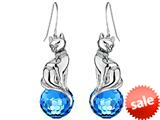 Original Star K™ Large Cat Hanging Hook Earrings with 10mm Simulated Blue Topaz Ball style: 308915