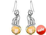 Original Star K™ Large Cat Hanging Hook Earrings with 10mm Simulated Citrine Ball style: 308916