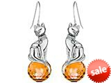 Original Star K™ Large Cat Hanging Hook Earrings with 10mm Simulated Imperial Yellow Topaz Ball style: 308917