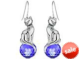 Original Star K™ Large Cat Hanging Hook Earrings with 10mm Simulated Sapphire Ball style: 308918