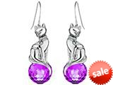 Original Star K™ Large Cat Hanging Hook Earrings with 10mm Simulated Amethyst Ball style: 308919