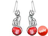 Original Star K™ Large Cat Hanging Hook Earrings with 10mm Simulated Ruby Ball style: 308920