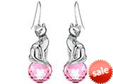 Original Star K™ Large Cat Hanging Hook Earrings with 10mm Simulated Pink Sapphire Ball style: 308922
