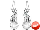 Original Star K™ Large Cat Hanging Hook Earrings with 10mm Simulated White Topaz Ball style: 308924