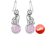 Original Star K™ Large Cat Hanging Hook Earrings with 10mm Simulated Pink Opal Ball style: 308927
