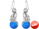 Original Star K™ Large Cat Hanging Hook Earrings with 10mm Simulated Blue Opal Ball style: 308928