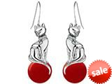 Original Star K™ Large Cat Hanging Hook Earrings with 10mm Simulated Red Coral Ball style: 308930