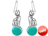 Original Star K™ Large Cat Hanging Hook Earrings with 10mm Simulated Turquoise Ball style: 308932