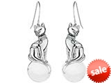 Original Star K™ Large Cat Hanging Hook Earrings with 10mm Simulated White Agate Ball style: 308933