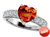 Original Star K™ 8mm Heart Shape Simulated Orange Mexican Fire Opal Engagement Ring style: 308940