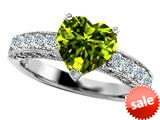 Original Star K™ 8mm Heart Shape Simulated Peridot Engagement Ring style: 308941
