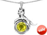 Original Star K™ Cat Lover Pendant with October Birthstone Simulated Yellow Sapphire style: 308945