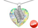 Original Star K™ Large 15mm Heart Shape Simulated Opal Soul Mate Pendant style: 308947
