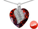 Original Star K™ Large 15mm Heart Shape Simulated Garnet Soul Mate Pendant style: 308948