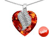 Original Star K™ Large 15mm Heart Shape Simulated Orange Mexican Fire Opal Soul Mate Pendant style: 308949