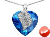 Original Star K™ Large 15mm Heart Shape Simulated Blue Topaz Soul Mate Pendant style: 308951