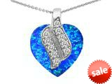 Original Star K™ Large 15mm Heart Shape Simulated Blue Opal Soul Mate Pendant style: 308952