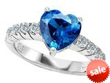 Original Star K™ 8mm Heart Shape Simulated Blue Topaz Engagement Ring style: 308955