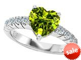 Original Star K™ 8mm Heart Shape Simulated Peridot Engagement Ring style: 308956