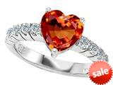 Original Star K™ 8mm Heart Shape Simulated Orange Mexican Fire Opal Engagement Ring style: 308959