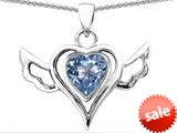 Original Star K™ Wings Of Love Pendant with Heart Shape Simulated Aquamarine style: 308962
