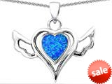 Original Star K™ Wings Of Love Pendant with Heart Shape Created Blue Opal style: 308963