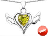 Original Star K™ Wings Of Love Pendant with Heart Shape Simulated Citrine style: 308964
