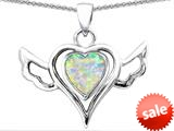 Original Star K™ Wings Of Love Pendant with Heart Shape Created Opal style: 308966