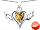 Original Star K™ Wings Of Love Pendant with Heart Shape Simulated Imperial Yellow Topaz style: 308967