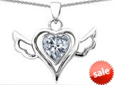 Original Star K™ Wings Of Love Pendant with Heart Shape Genuine White Topaz style: 308968