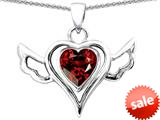 Original Star K™ Wings Of Love Pendant with Heart Shape Simulated Garnet style: 308969