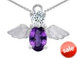 Original Star K™ Angel Of Love Protection Pendant With Oval 8x6mm Simulated Amethyst style: 308970