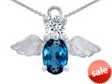 Original Star K™ Angel Of Love Protection Pendant With Oval 8x6mm Simulated Blue Topaz style: 308971