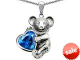 Original Star K™ Love Bear Hugging Birthstone of December 8mm Heart Shape Simulated Blue Topaz style: 308975
