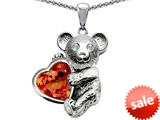 Original Star K™ Love Bear Hugging Birthstone of October 8mm Heart Shape Simulated Orange Mexican Fire Opal style: 308976
