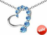 Original Star K™ Journey of Love Heart Pendant with Round Simulated Blue Topaz style: 308985