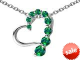 Original Star K™ Journey of Love Heart Pendant with Round Simulated Emerald style: 308987