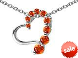Original Star K™ Journey of Love Heart Pendant with Round Simulated Orange Mexican Fire Opal style: 308988