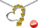 Original Star K™ Journey of Love Heart Pendant with Round Simulated Imperial Yellow Topaz style: 308990