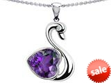 Original Star K™ Love Swan Pendant With 8mm Heart Shape Simulated Amethyst style: 308991