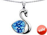 Original Star K™ Love Swan Pendant With 8mm Heart Shape Simulated Blue Topaz style: 308992