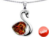 Original Star K™ Love Swan Pendant With 8mm Heart Shape Simulated Garnet style: 308993
