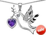 Original Star K™ Peace Love Dove Pendant with 7mm Heart Shape Simulated Amethyst style: 308994